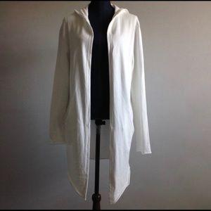 Zara Man White Open Hooded Cardigan